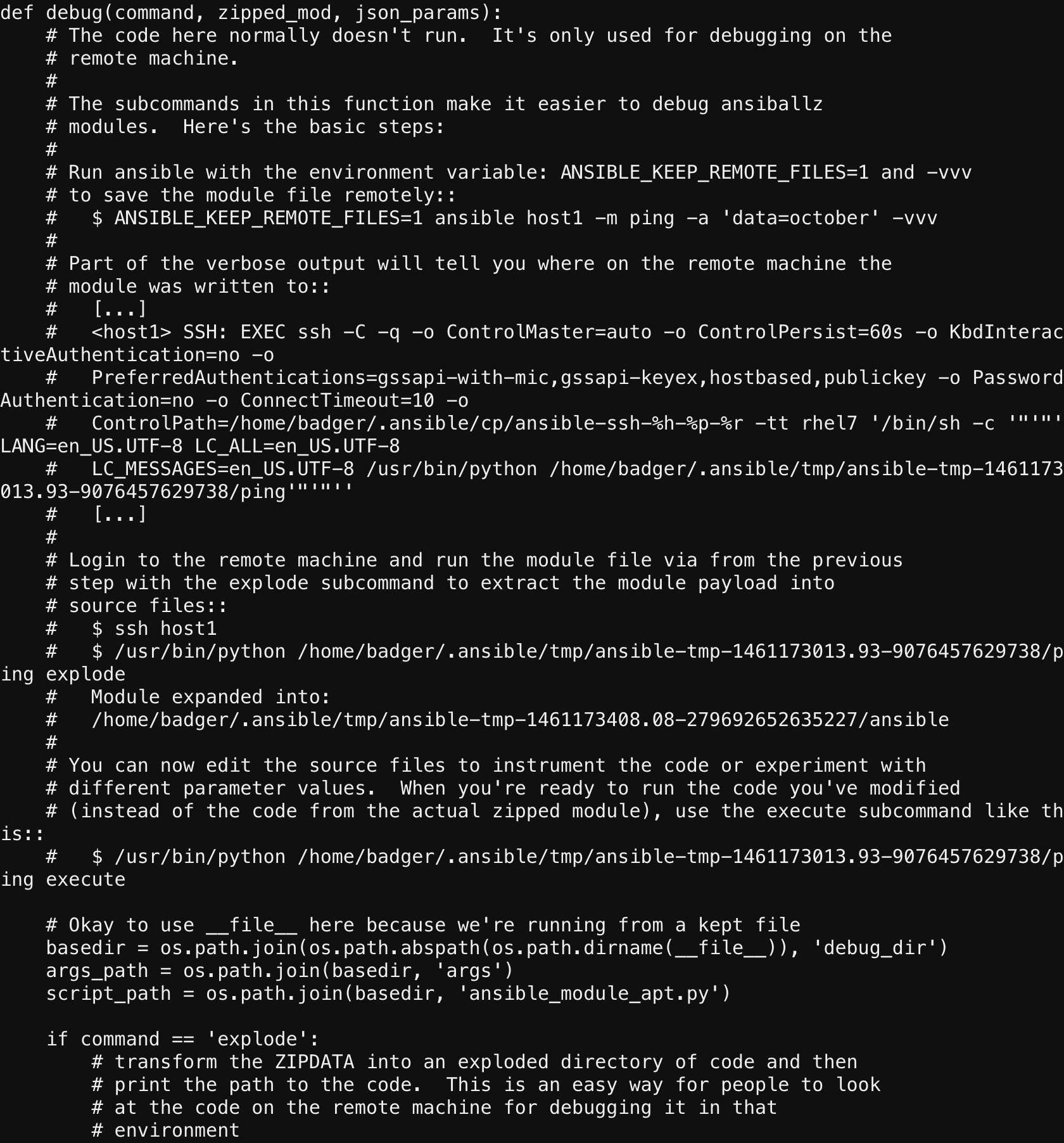 4 2  Save and view remote module execution code — Ansible